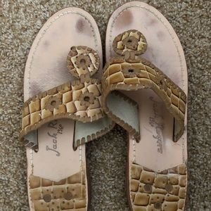 Jack Rogers tan alligator leather sandals 9.5